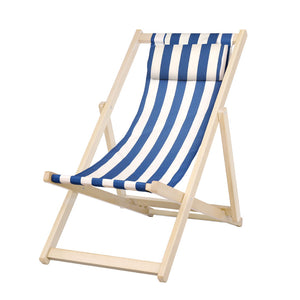 Artiss Foldable Beach Sling Chair - Blue & White