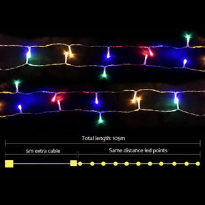 Jingle Jollys 100M Christmas String Lights 500LED Multi Colour - Maddie & Jack's Playground
