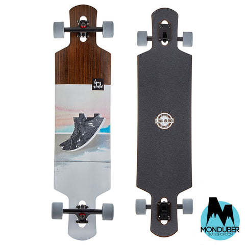 Longboard Completo Long Island - Fin Drop Through - Gris-Multicolor-Madera - Monduber Skate Shop
