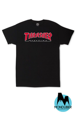 Camiseta Thrasher - Outlined - Negro - Monduber Skate Shop
