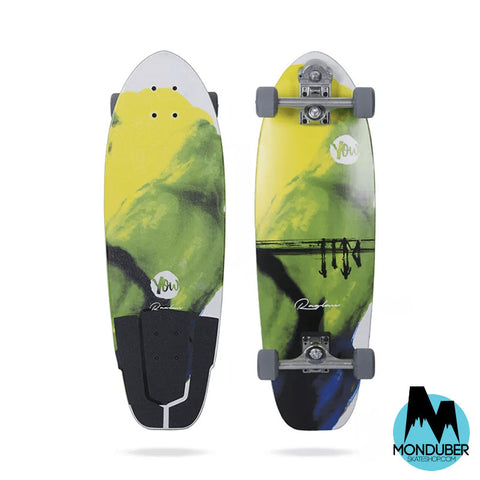 "Surfskate Completo YOW - Raglan v2 Dream Waves 32"" - Amarillo, Verde y Azul - Monduber Skate Shop"