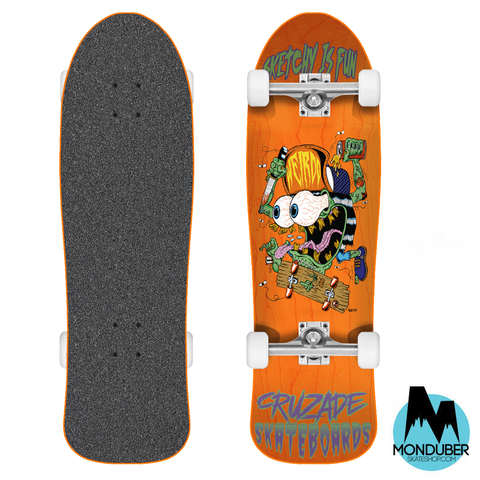 "Skate Completo 9"" Old School - Cruzade Skateboards - Sketchy is fun - Naranja"