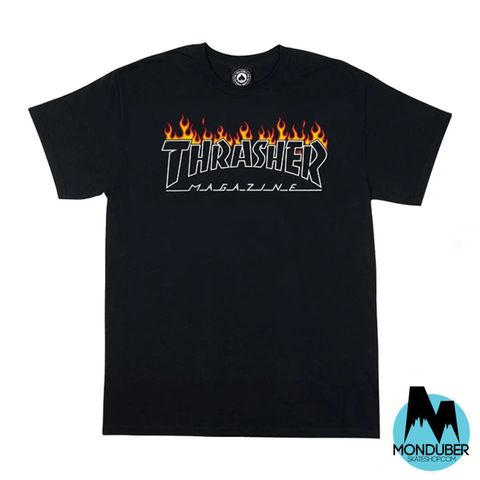 Camiseta Thrasher - Scorched Outline - Negro - Monduber Skate Shop