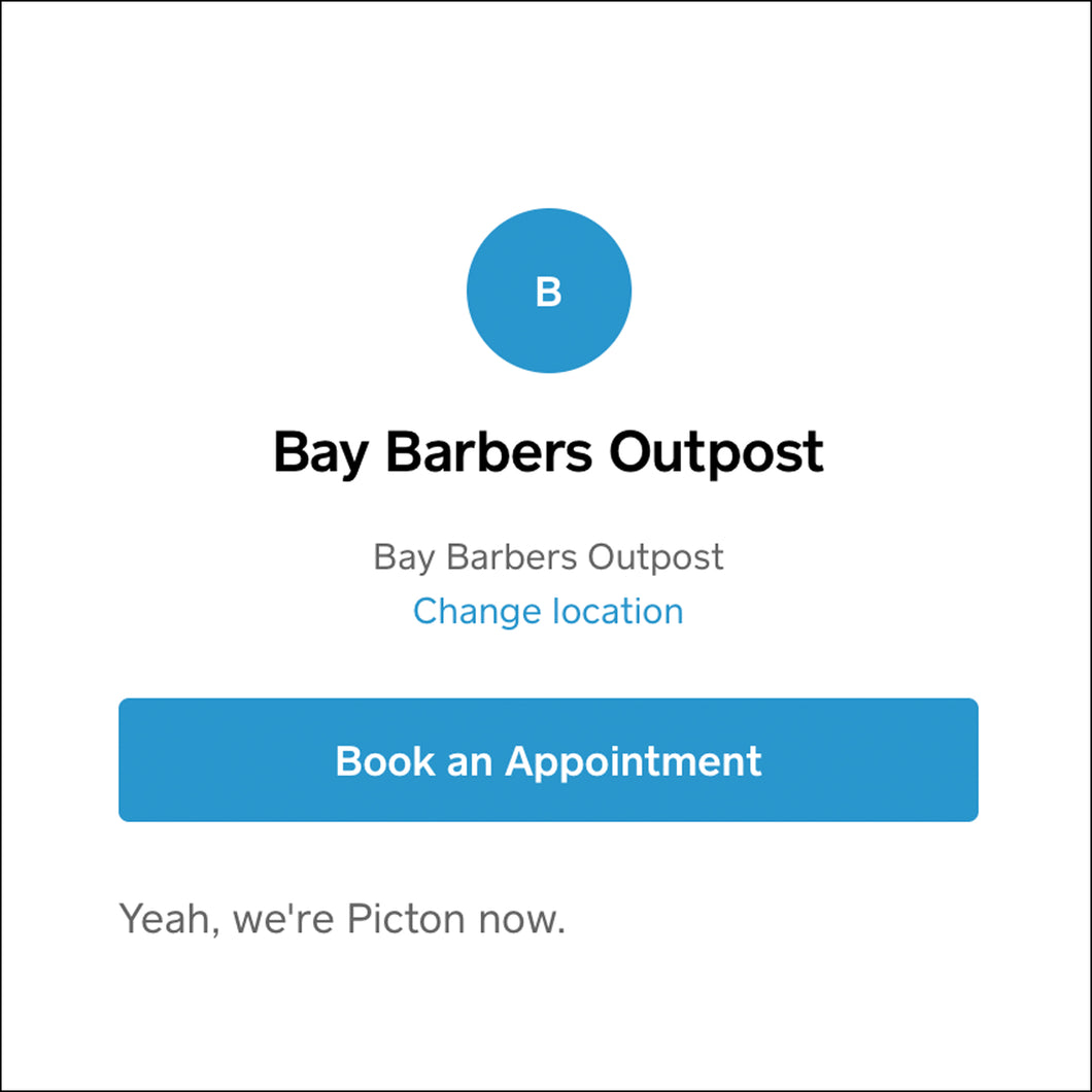 Bay Barber Book Yourself IN!