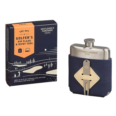 Gentlemen's Hardware TEE OFF Golfer's Hip Flask & Divot Tool