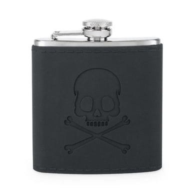 True Brand 6 oz Stainless Steel Skull Flask Matt Black Finish