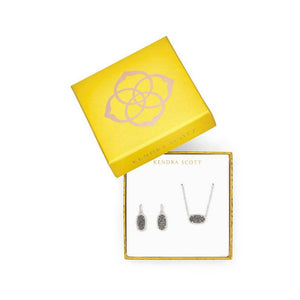 Elisa Satellite Necklace & Lee Earrings Gift Set In Platinum Drusy