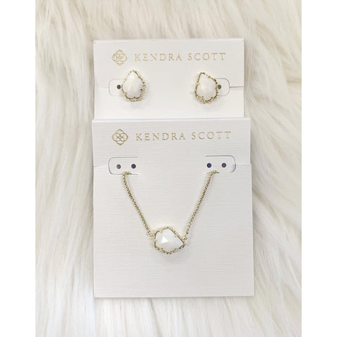 DB Kendra Scott Gold White Mother of Pearl Set