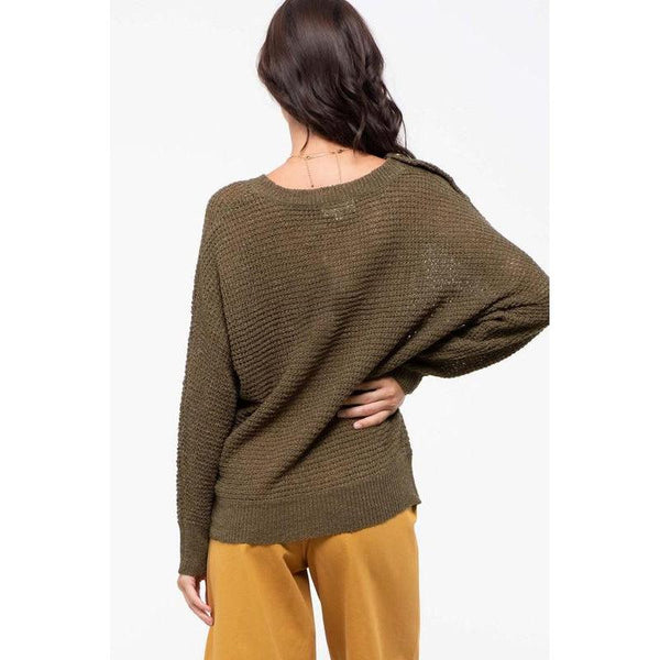 Wait For You Olive Sweater
