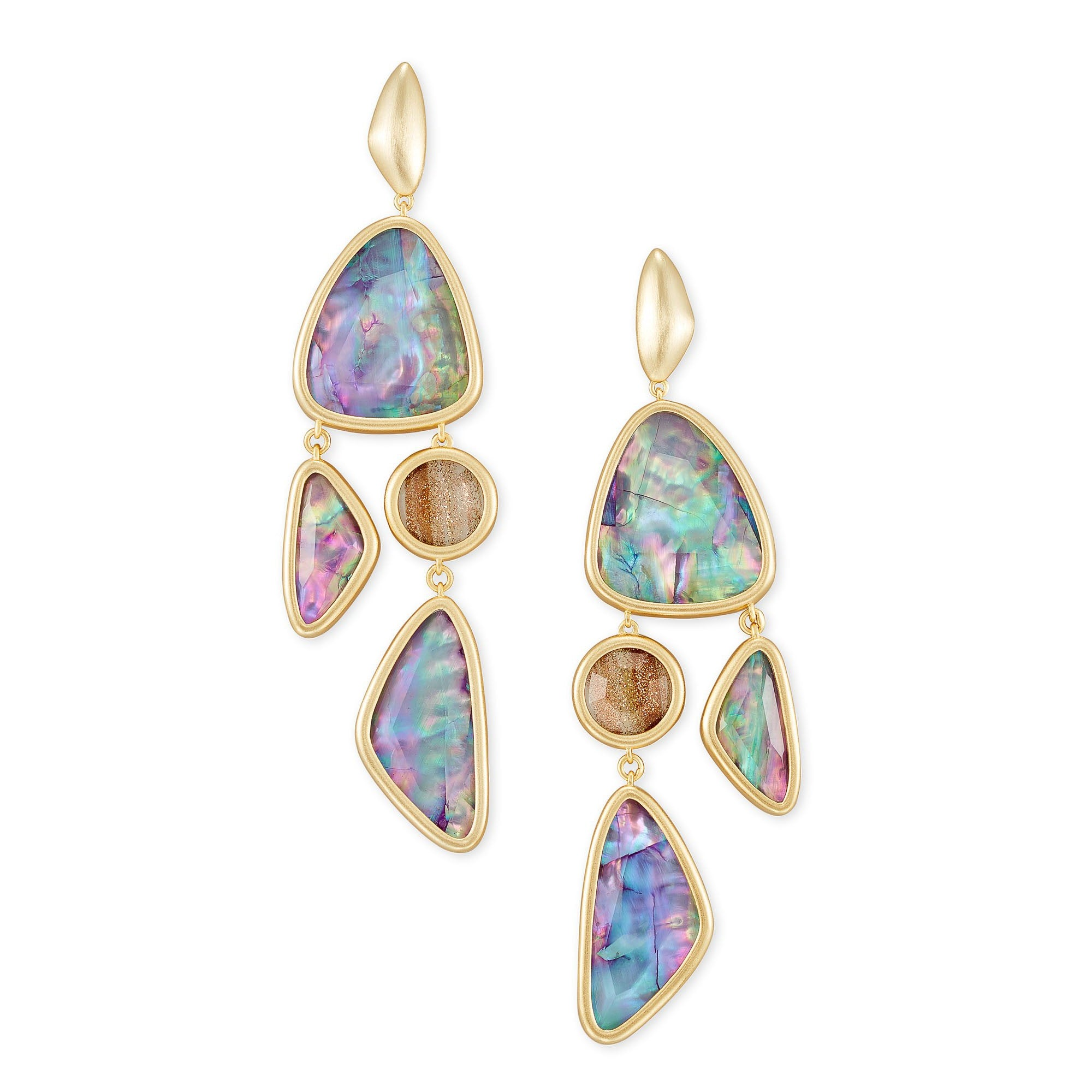 Margot Statement Earring in Gold Lilac Abalone
