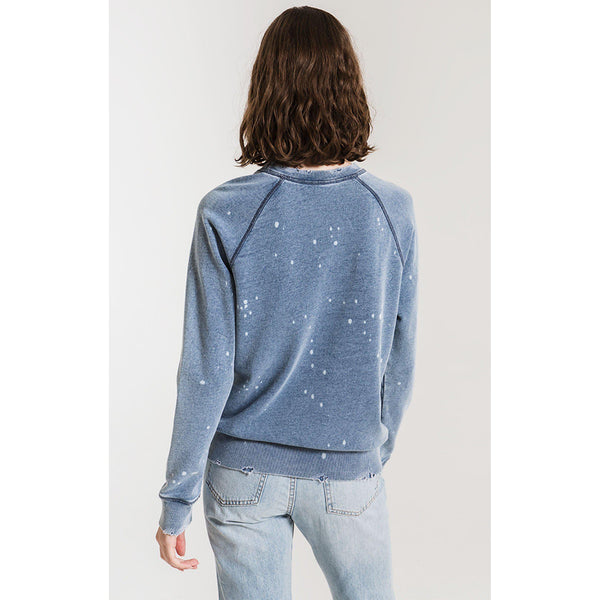 The Knit Denim Bleach Pullover