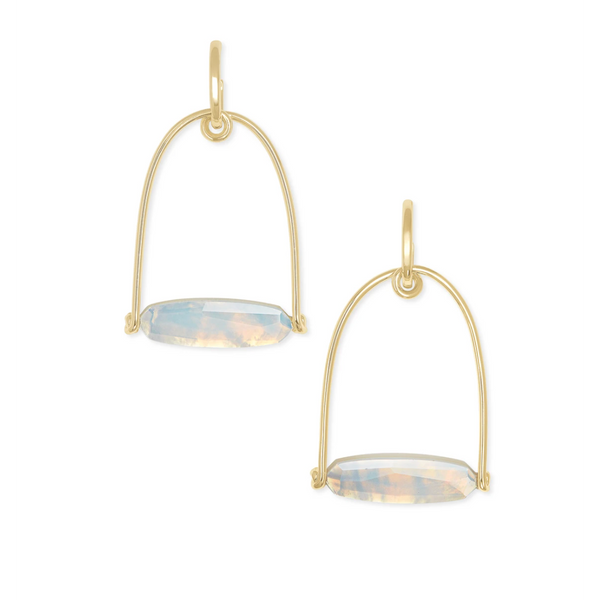 sassy statement earring gold opalite illusion