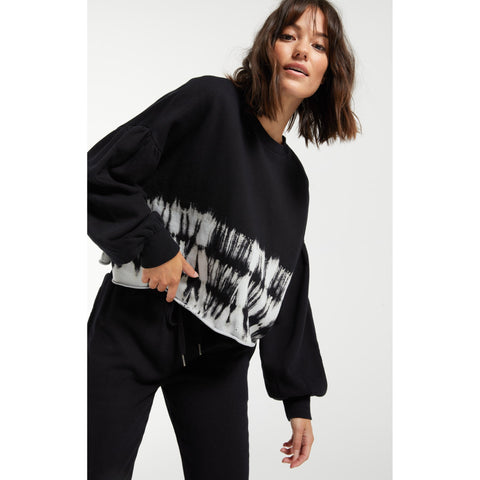 Tempest Stripe Tie Dye Pullover in Black