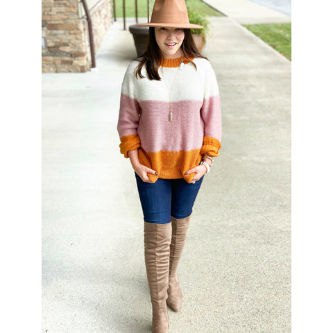 Sweet On Fall Color Block Sweater