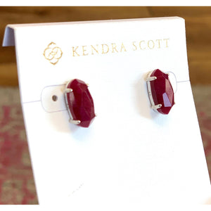 KS Betty Earrings in Maroon Jade Rhodium