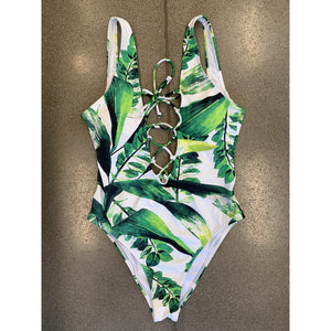Tropical Leaf One Piece - Size Small