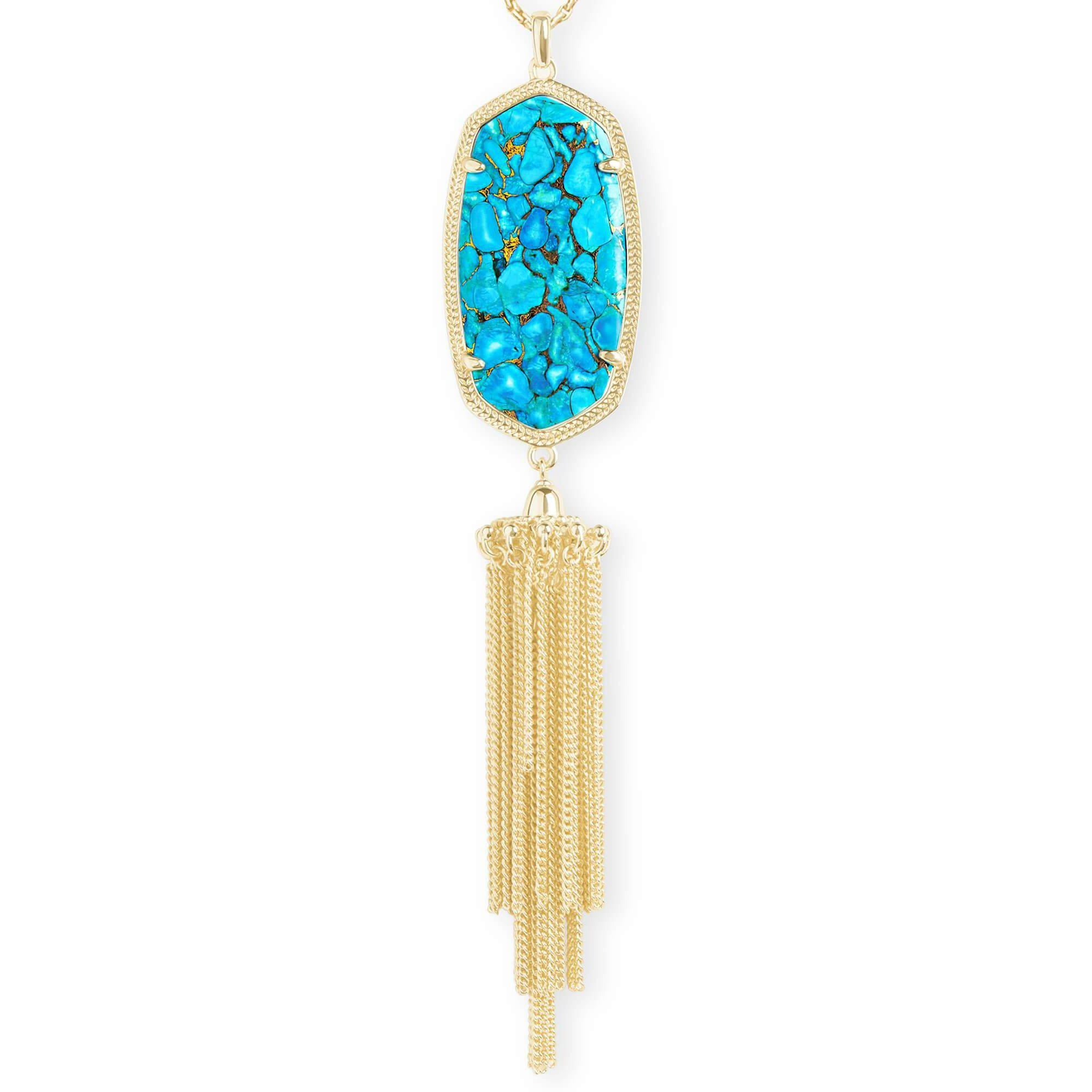Rayne Gold Pendant Necklace In Bronze Veined Turquoise Magnesite