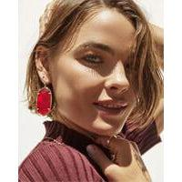 Faceted Danielle Earring Gold Cherry Red Illusion