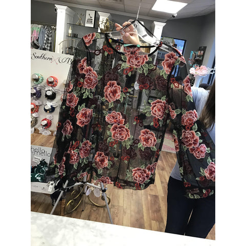 Karlie Floral Embellished Top