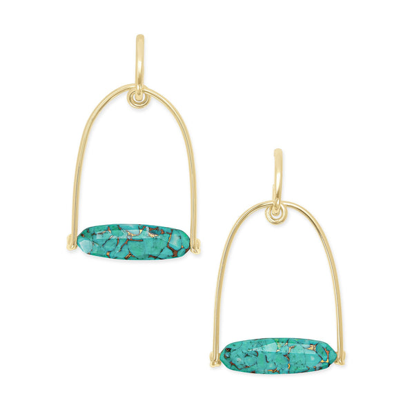 sassy statement earring gold bronze veined teal