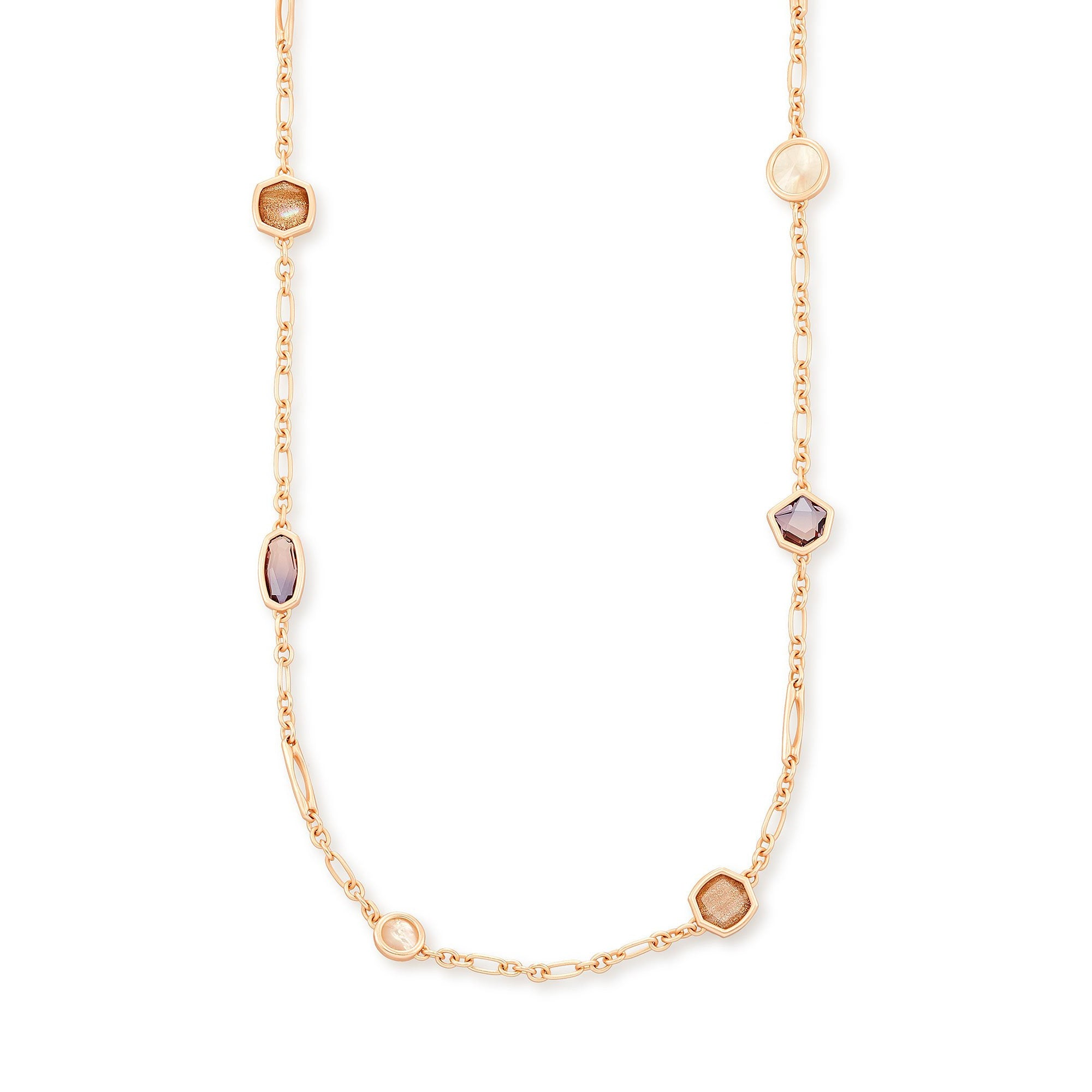 Natalia Long Strand Necklace Rose Gold Peach Mix