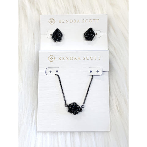 DB Kendra Scott Gunmetal Black Drusy Set