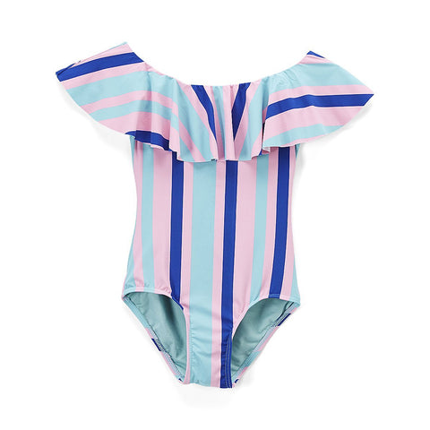 Kid's Off the Shoulder Ruffled Collar Swimsuit