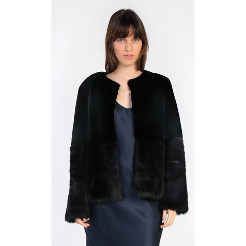 Contrast Panel Faux Fur Jacket