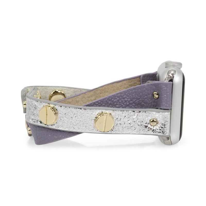 Erimish Apple Watch Band - Crisscross Leather Lilac/Gold