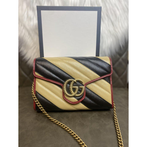 Gucci GG Marmont Leather Chain Wallet Multicolor