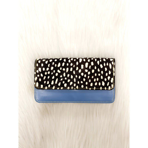 Nova Leather Wallet Robin Egg/White Spots