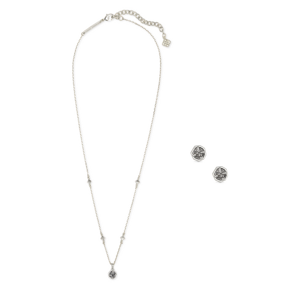 Nola Silver Necklace & Earrings Gift Set In Platinum Drusy