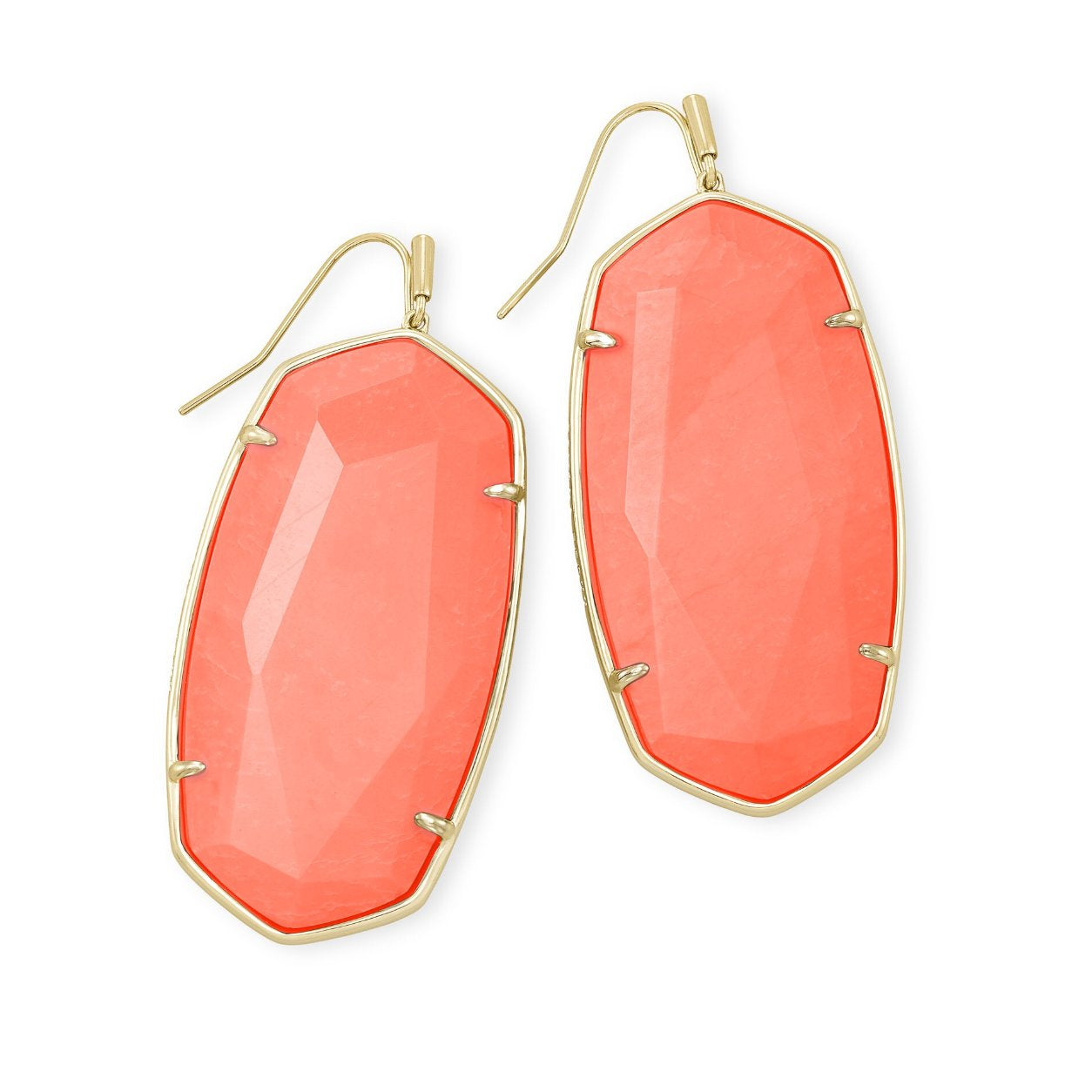 Faceted Danielle Earrings in Gold Bright Coral