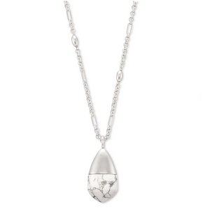 Freida Long Pendant Necklace Rhodium White Howlite