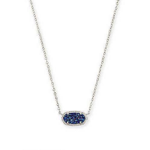 Elisa Necklace Rhodium Indigo Blue Drusy