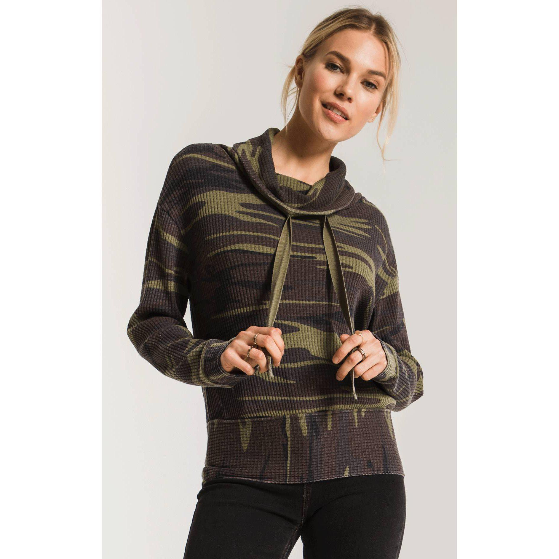 The Camo Cowl Neck Thermal Top