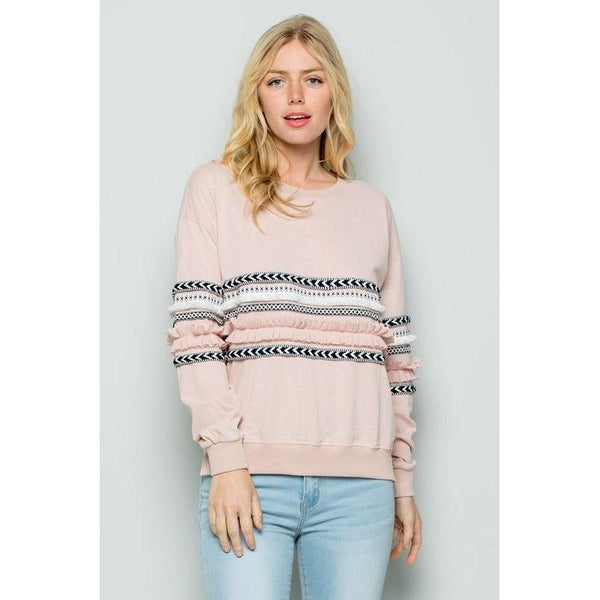 Blush Print Mix Knit Top