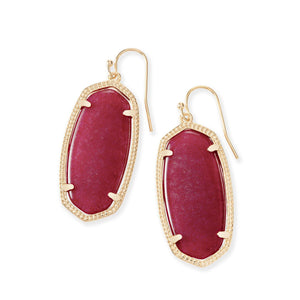 KS Elle Earrings In Maroon Jade Gold