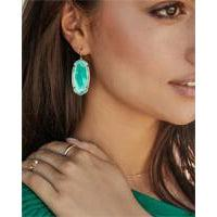 Faceted Elle Earring Gold Jade Green Illusion