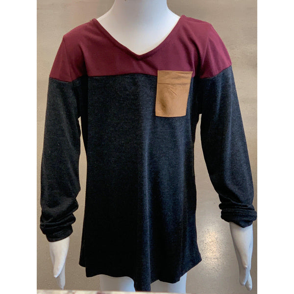 Michelle Colorblock Top Maroon
