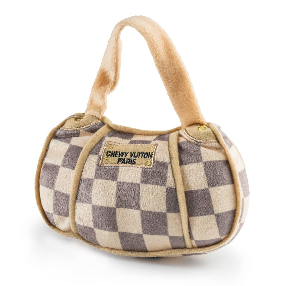 Chewy Vuitton Checker Handbag Large Dog Toy