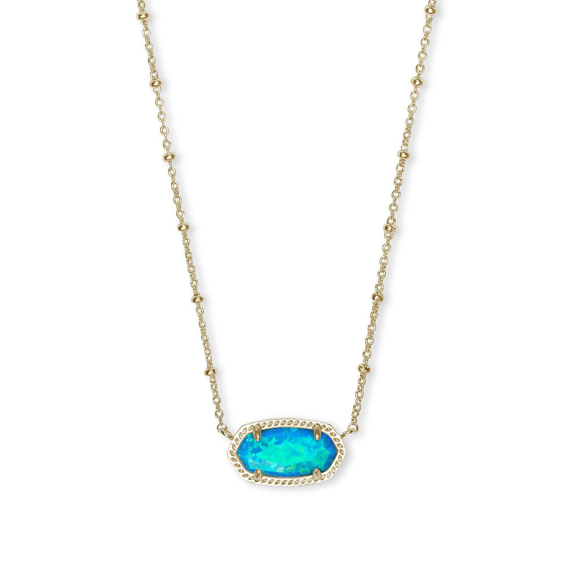 Elisa Satellite Necklace in Gold Turquoise Kyocera Opal