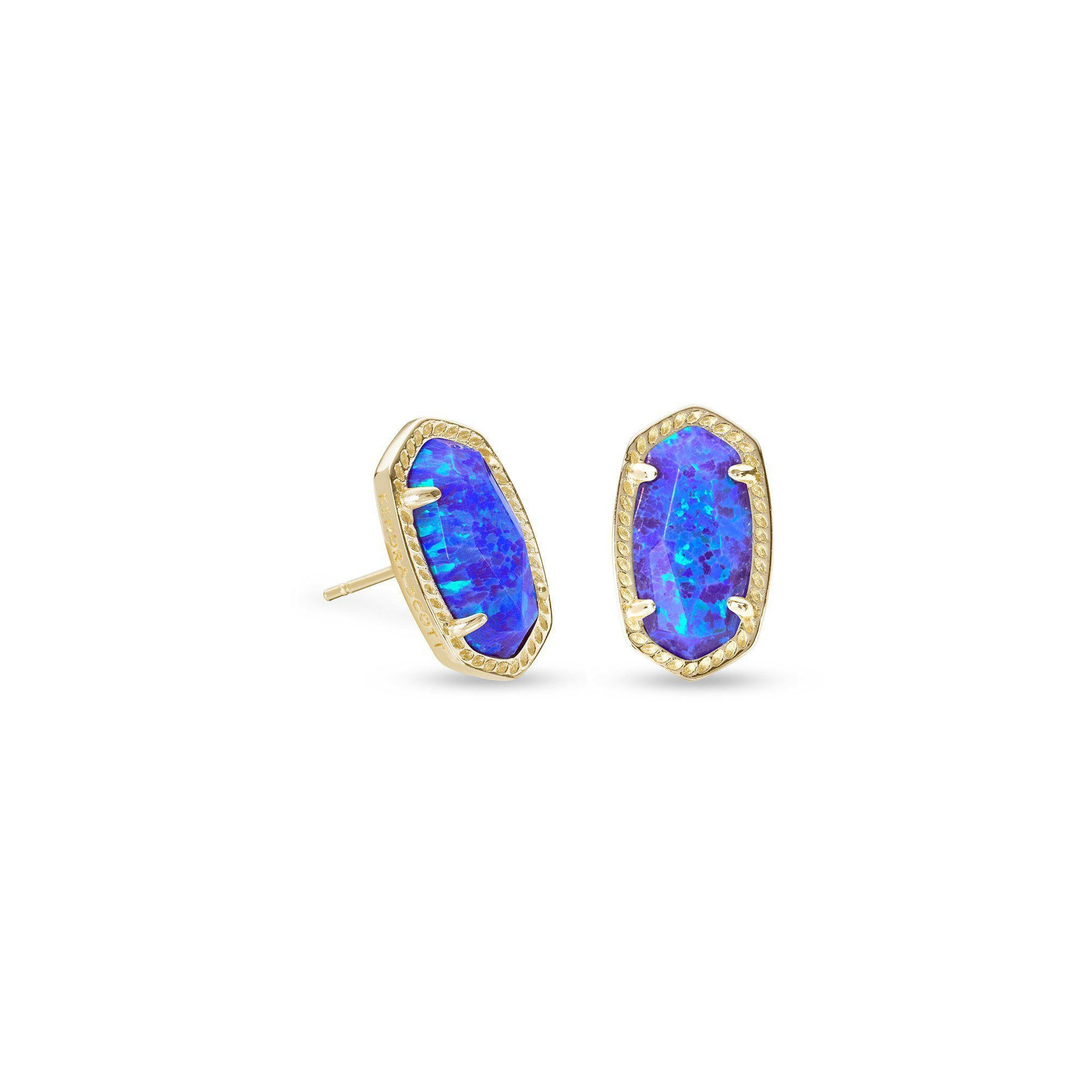 Ellie Earring in Gold Violet Kyocera Opal