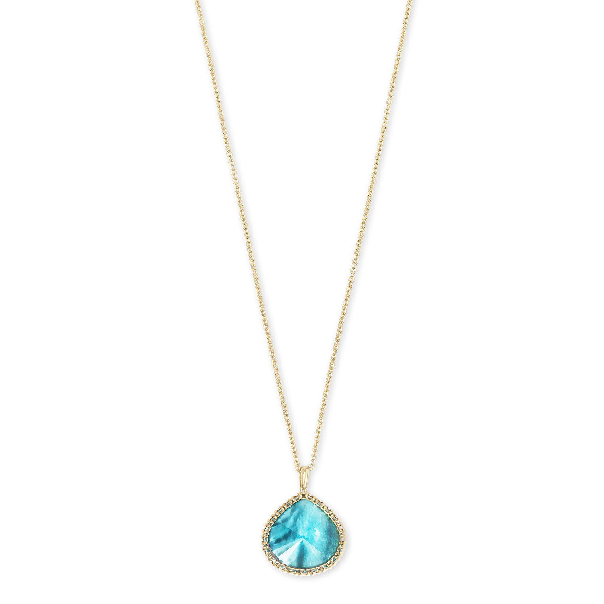 Kenzie Small Long Pendant Necklace in Gold Aqua Illusion