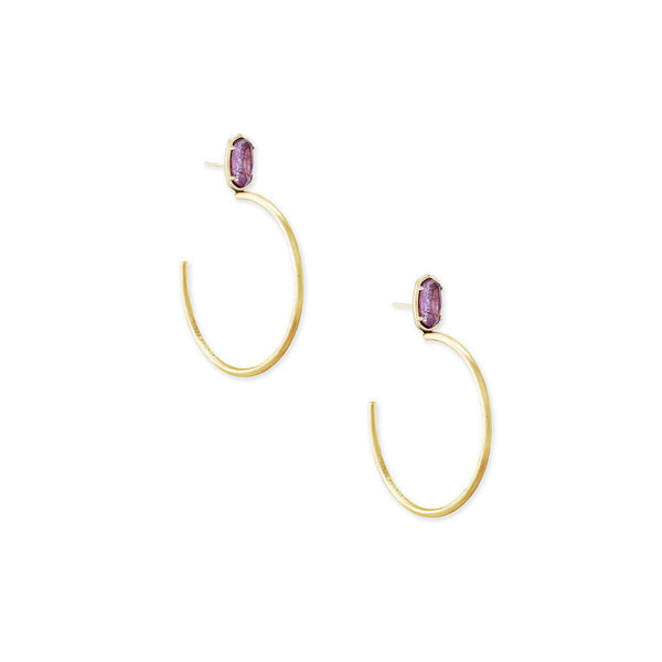 Small Stone Pepper Earring in Gold Purple Mica