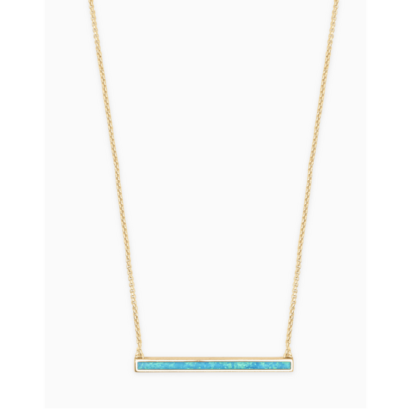 Kelsey Short Pendant Necklace in Gold Turquoise Opal