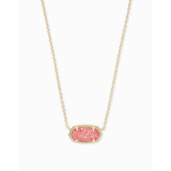 Elisa Necklace in Gold Coral Drusy
