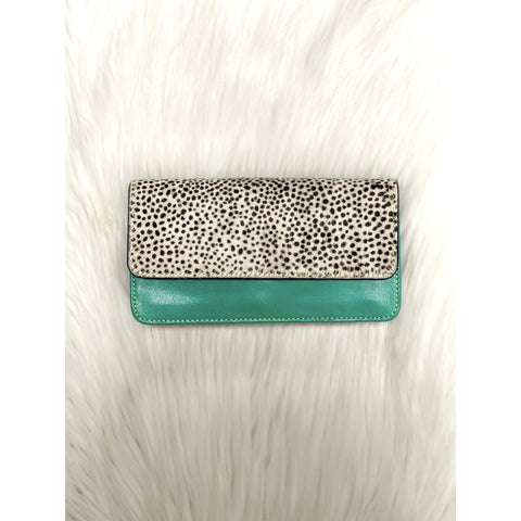Nova Leather Wallet Green/White Leopard