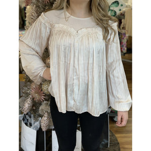 Pleated Sleeve Contrast Blouse