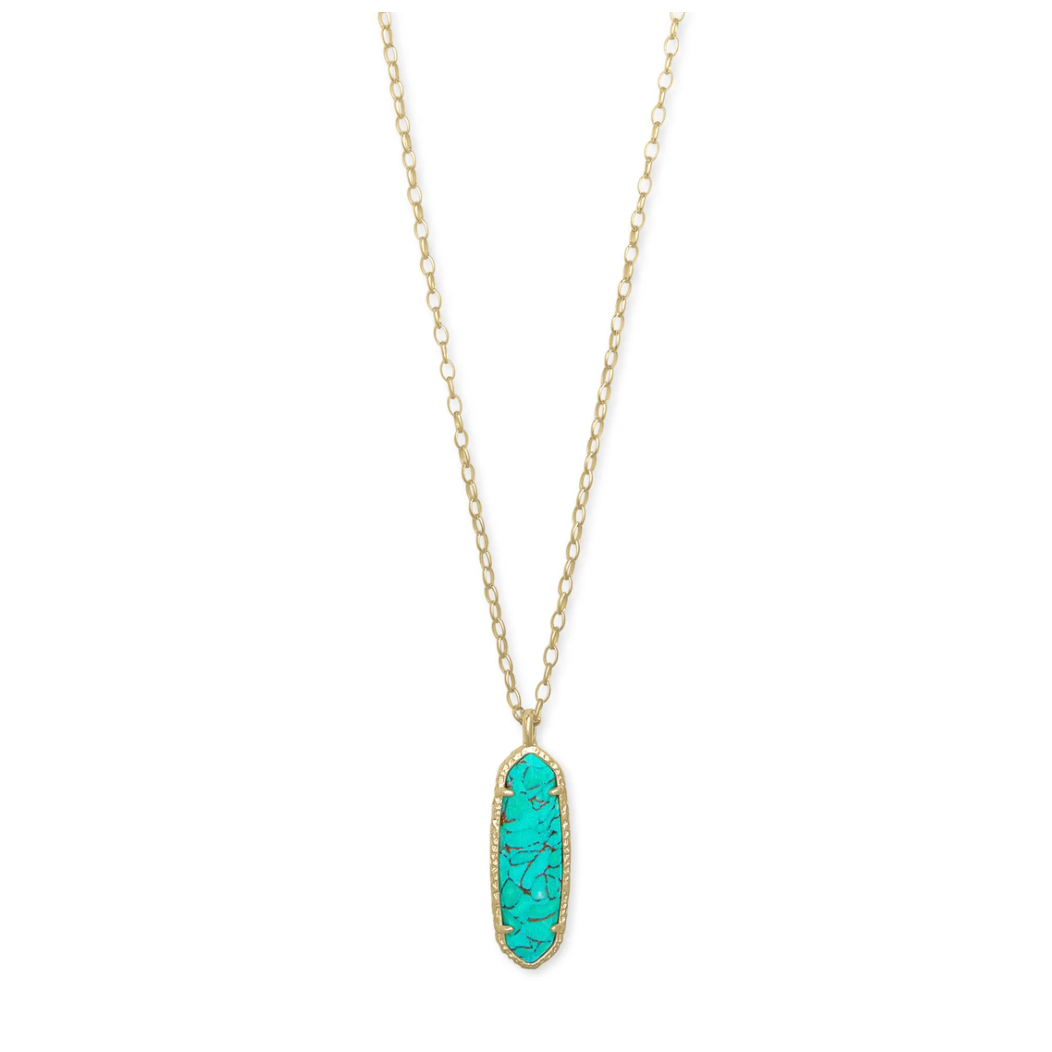 layla long pendant necklace gold bronze veined teal
